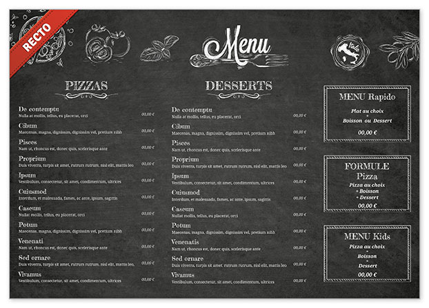 Carte restaurant exemple jx87 jornalagora - Set de table pour restaurant ...