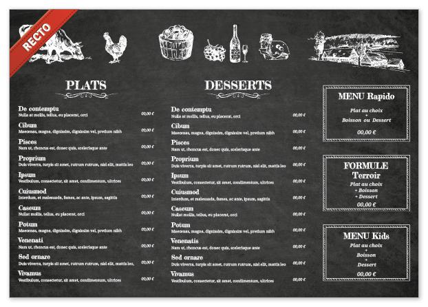 Set de table A3 pour restaurant à personnaliser - Ardoise fond noir ...