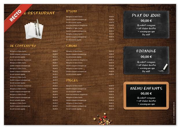 Set de table lavable pour restaurant à personnaliser - Menu Creation ...