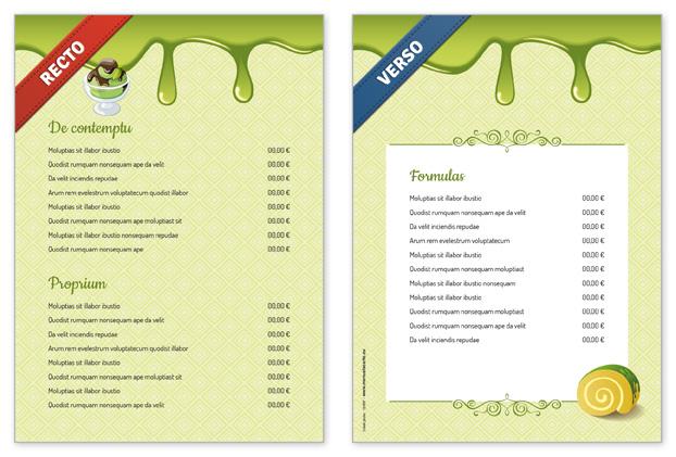 Souvent Menu desserts personnalisable pour restaurant et salon de thé MF95