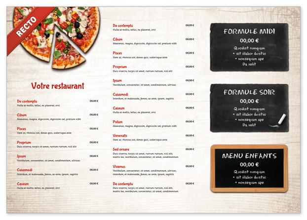 Set de table pour restaurant à personnaliser - Menu Creation Online