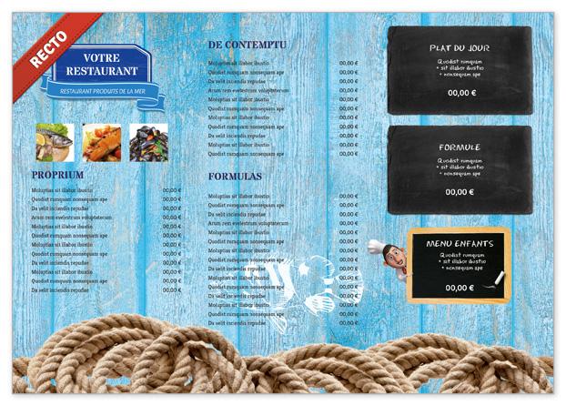 Set de table pour restaurant de fruit de mer à personnaliser - Menu ...
