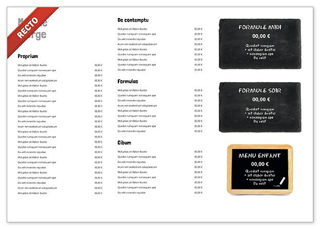 Set de table A3 pour restaurant à personnaliser - Menu Creation Online