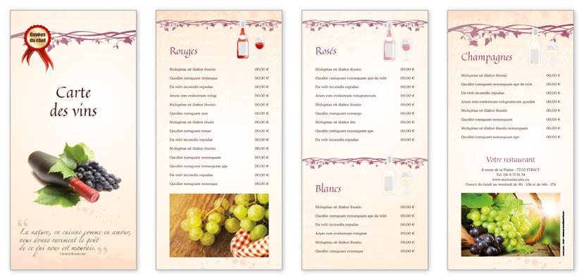 Extrêmement Carte de vins pour restaurant à personnaliser - 4 pages 14X30 UB47