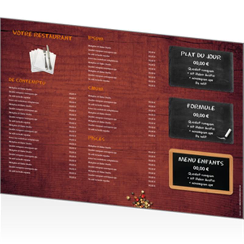 Set de table papier format a3 personnaliser for Table 9 menu